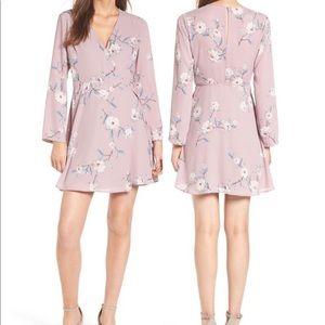 Like new lush floral purple long sleeve wrap dress